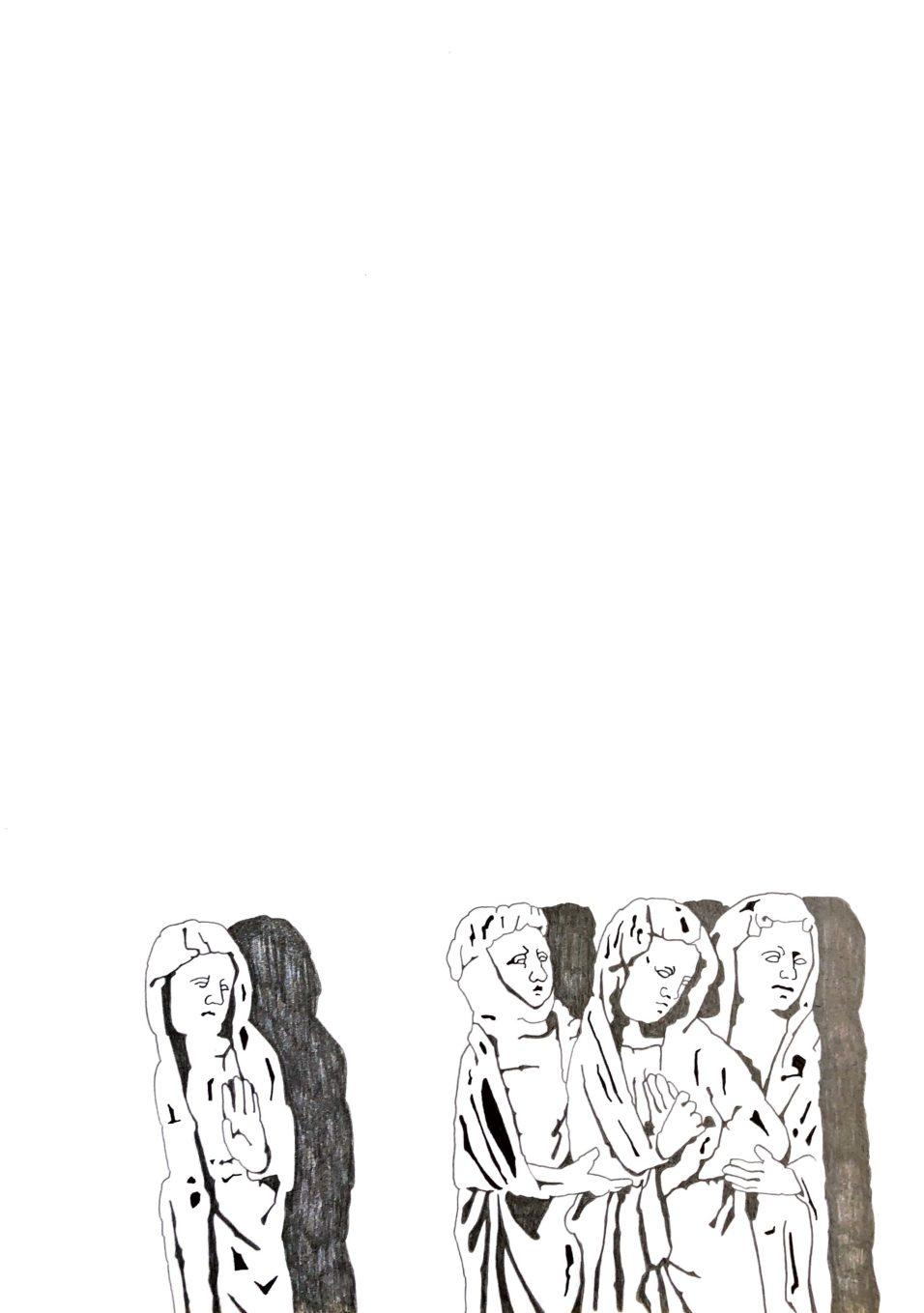 """Matthias Huber, """"keep distance: Angst"""", Graphit auf Papier, 21x29,7cm, 2020"""
