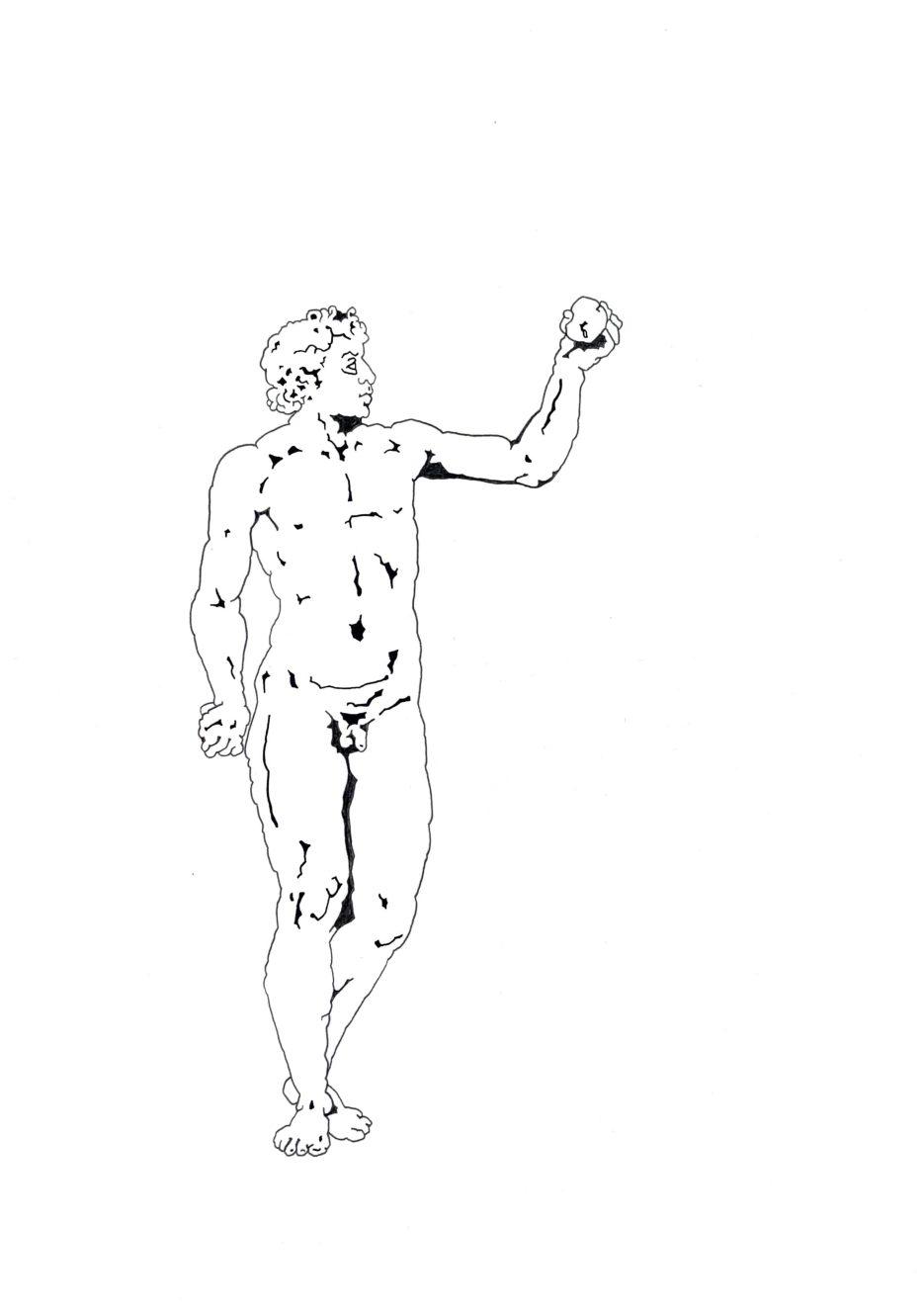 """Matthias Huber, """"keep distance: Angebot"""", 21x29,7cm, Graphit auf Papier, 2020"""