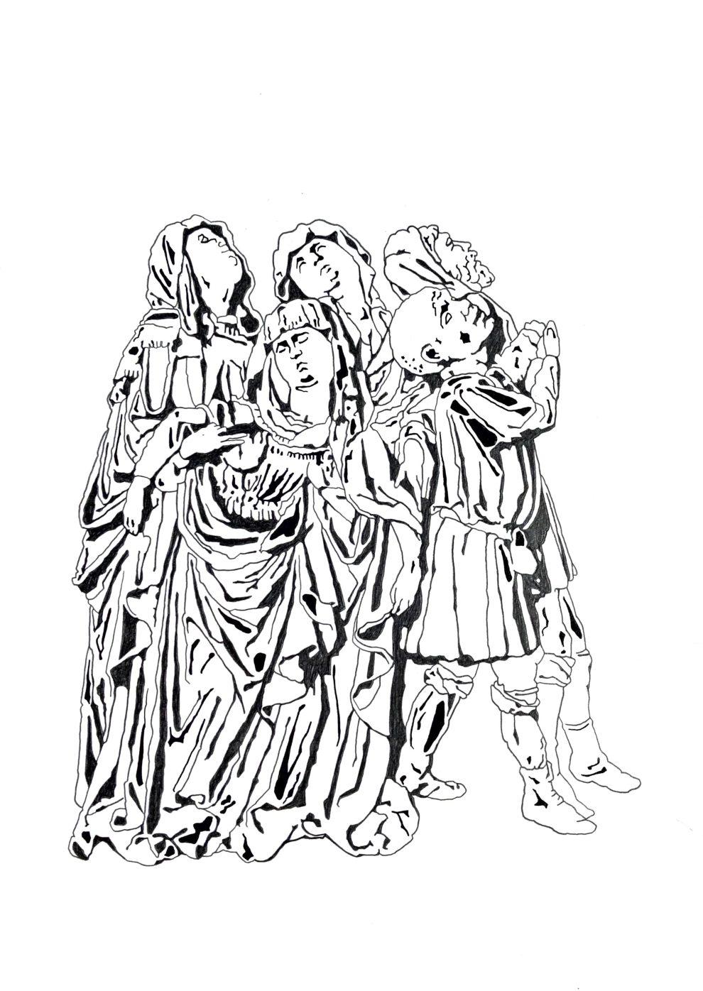 """Matthias Huber, """"keep distance: Menschengruppe I"""", 21x29,7cm, Graphit auf Papier, 2020"""