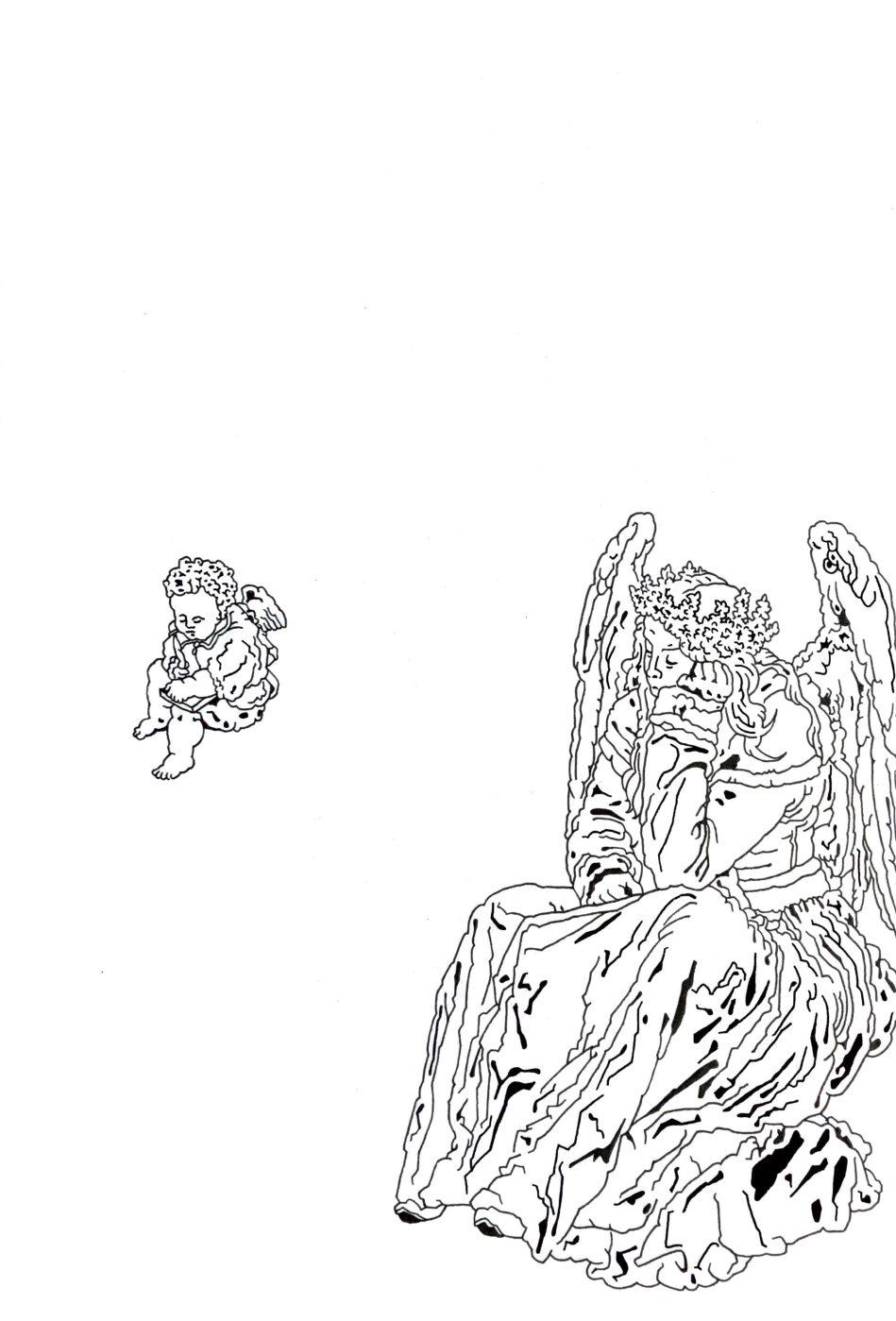 """Matthias Huber, """"keep distance: Melencolia"""", 21x29,7cm, Pigment Liner auf Papier, 2020"""