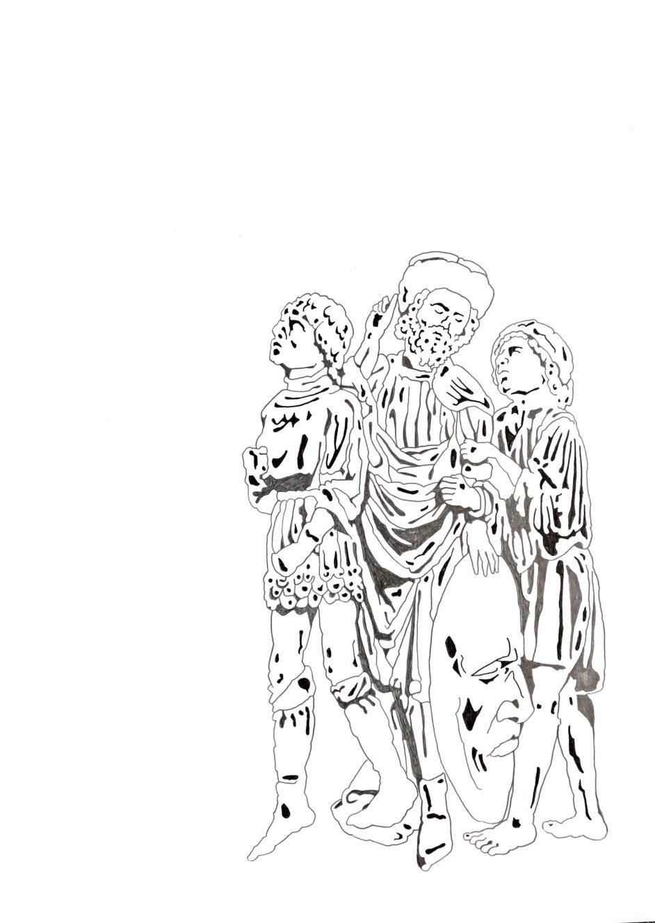 Matthias Huber, keep distance: Menschengruppe II, Graphit auf Papier, 21x29,7cm, 2020