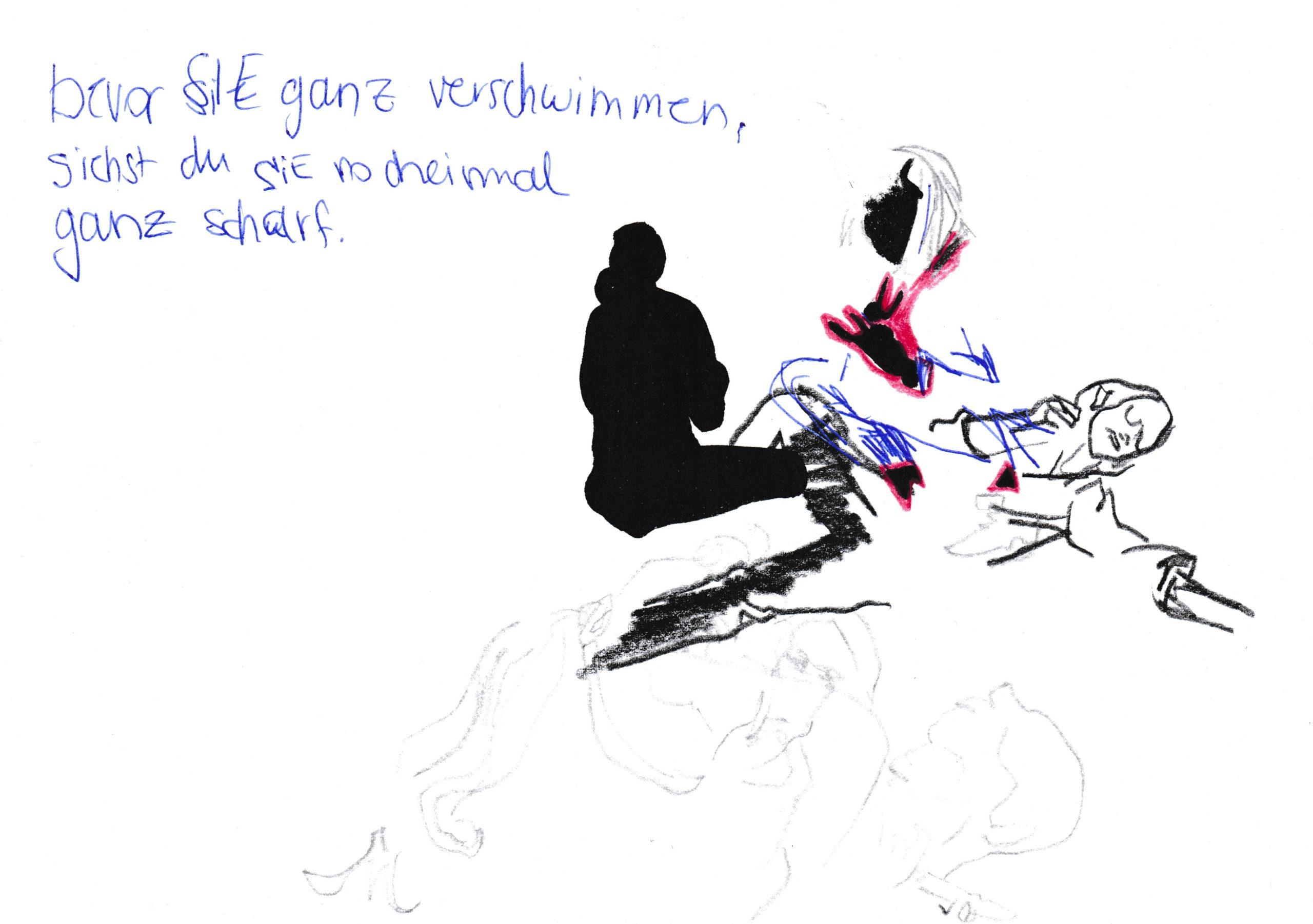 ohne Titel, Farbstift (polychromo), Bleistift, Copic Liner und Kugelschreiber auf Papier, DIN A5, 2020 by Melissa Hermann
