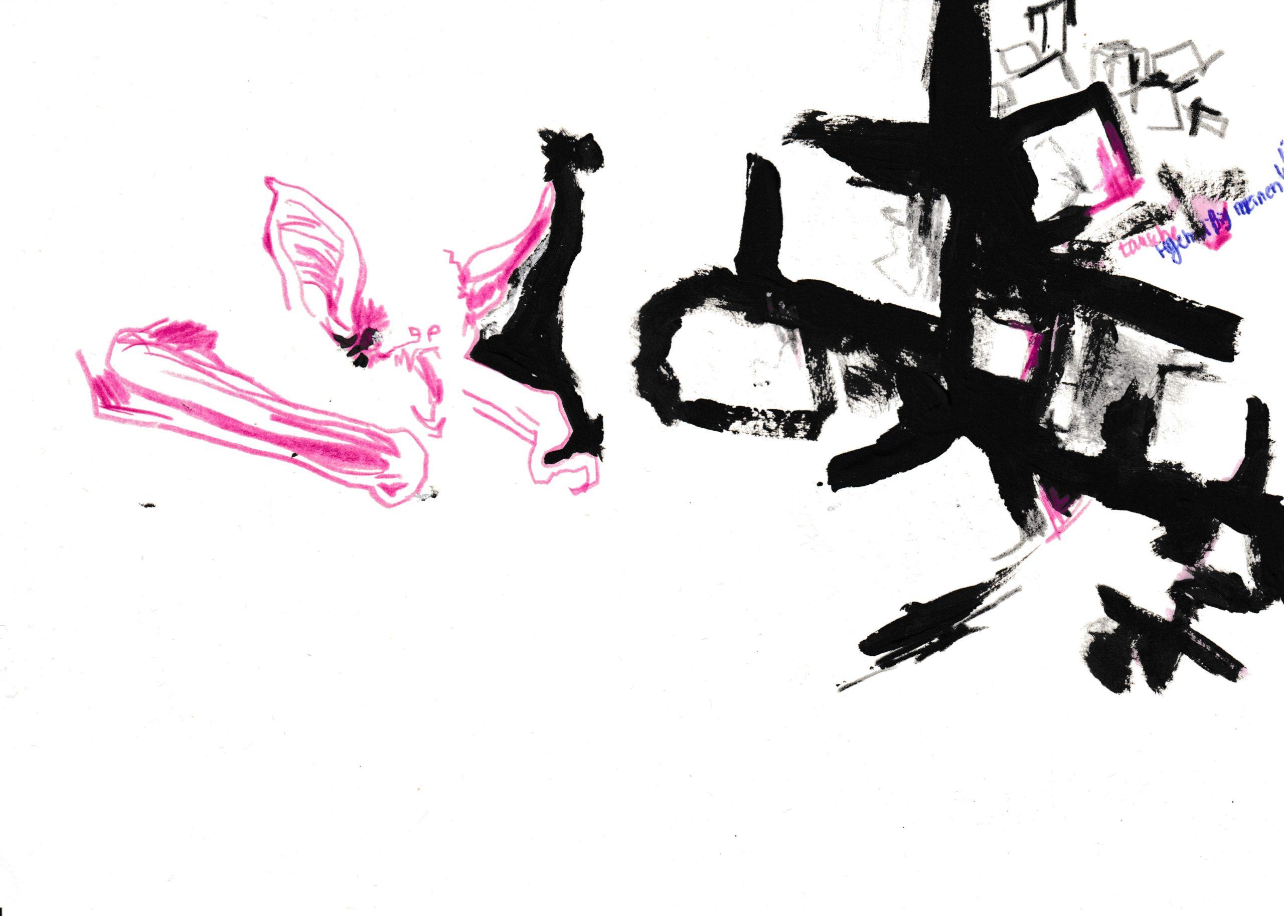 Wirtsgeschäfte, Farbstift,Kugelschreiber,Bleistift, Acryl, Pastell-Ölkreide und Textmarker auf Papier, DIN A5, 2020 by Melissa Hermann