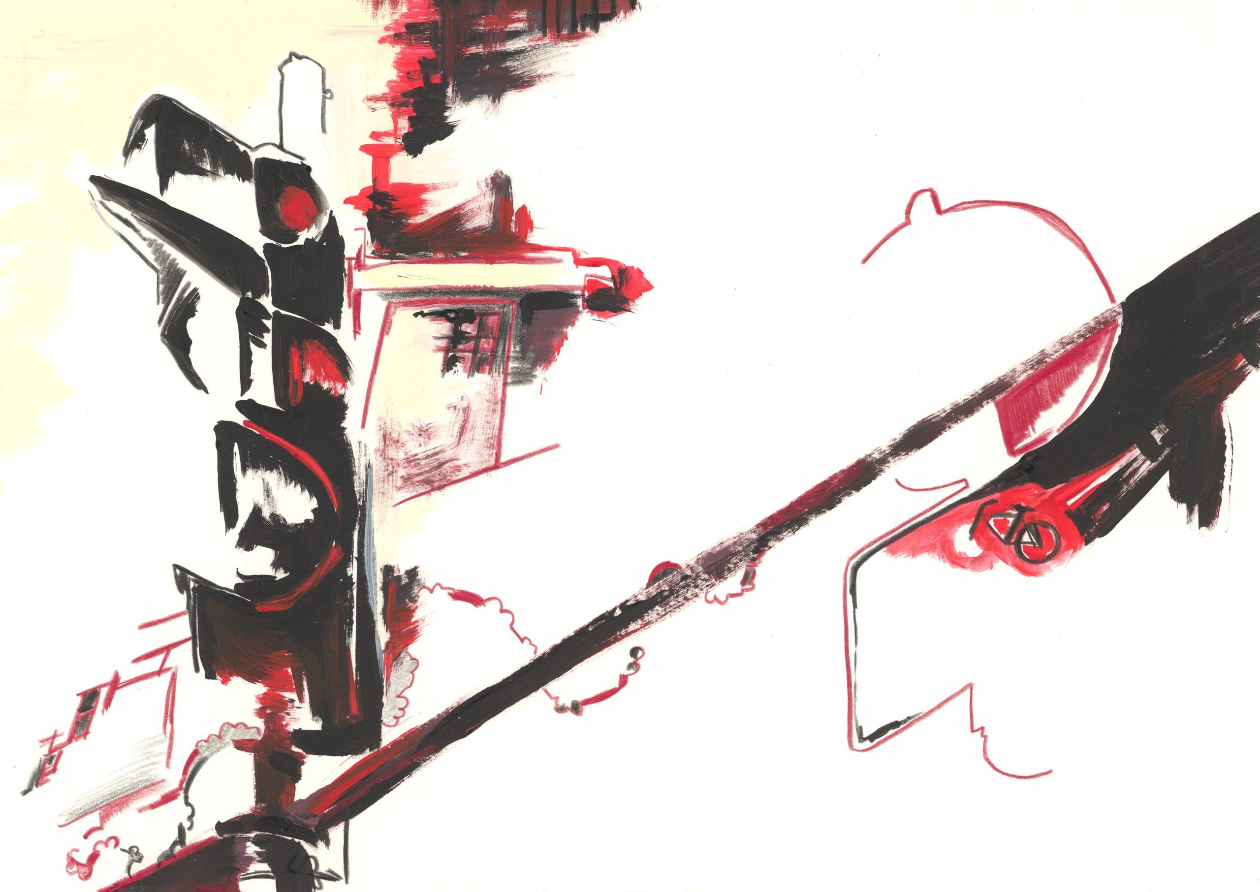 Stadtcorpi 1b, Farbstift (Polychromo) und Acryl auf Papier, 2019 by Melissa Hermann